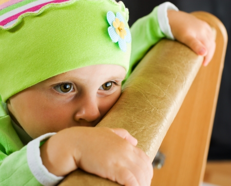 offended: Offended by a child who is hiding. Stock Photo