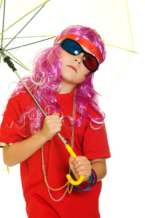 A girl in fancy clothes, umbrella and 3d glasses on a white background. photo