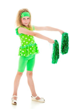 pom: The girl in green over white with pompoms.