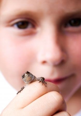 Child holds a lizard in his hand on his face.
