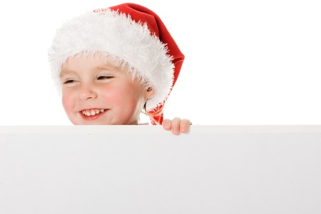 Happy Christmas child with the board on a white background. Stock Photo - 15646982
