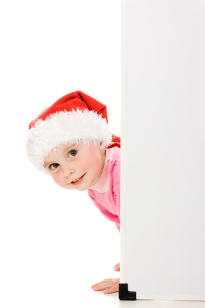 Happy Christmas child with the board on a white background. Stock Photo - 15646976