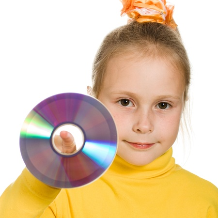 optical disk: Young girl with a compact disc on a white background.