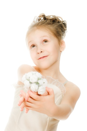 Beautiful girl in white dress with a flower on a white background. photo