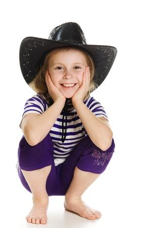bandana girl: Girl cowboy in a black hat on a white background.