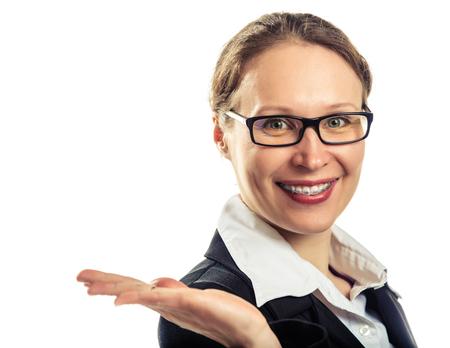 Beautiful smiling girl wearing braces on a white background. 版權商用圖片