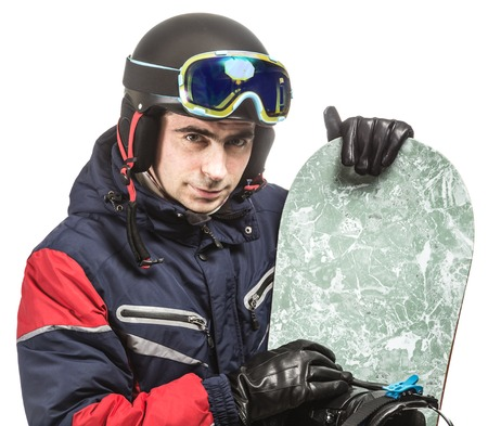 sullenly: Male snowboarder with the board on a white background. Stock Photo