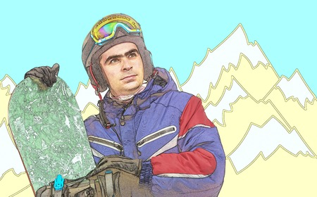 extreme close up: Male snowboarder with the board. Comic style. Stock Photo