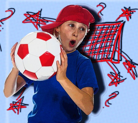 portrait young girl studio: Beautiful girl in a sports cap and a T-shirt with a ball on a white background. Photography in the style of comics.