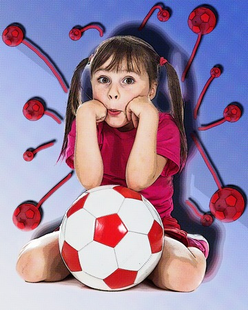 football play: Little girl football player on a white background. Style of comics.