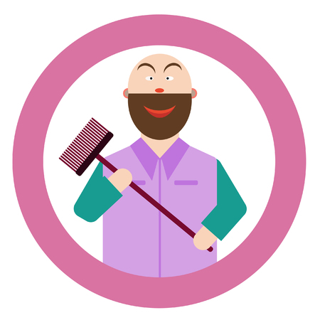 Vector illustration of a male cleaner.