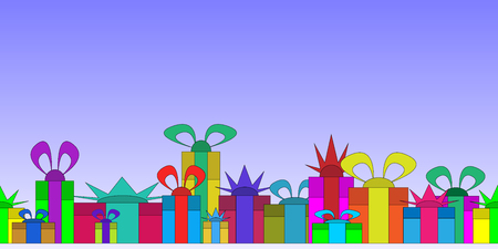 Big pile of colorful wrapped gift boxes decorated with ribbon, bows and ornaments.