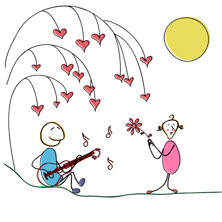 A young man plays a guitar for his girlfriend illustration.