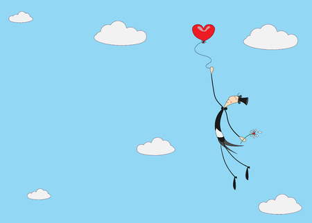 A small cheerful gentleman ascends to the sky to clouds on a hot air balloon in the form of a heart. Vector greeting card for valentines day. Illustration