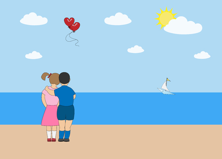 Vector festive valentine boy little girl on the beach stand with their backs. Illustration