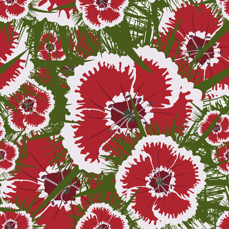 Vector seamless retro pattern, carnation flowers. Can be used for web page background, fills drawings, wallpapers, surface textures.