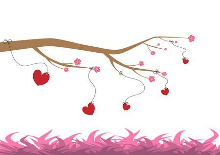Happy Valentines Day vector cards and lettering. Hearts hang on a flowering tree above the grass. Vettoriali