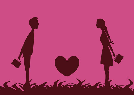 Young couple in love attracted to each other and hiding behind gift on Valentines Day.Between the young people is the heart. Vettoriali