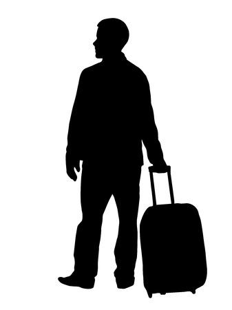 Un uomo con una valigia sta aspettando. Silhouette nera su sfondo bianco.