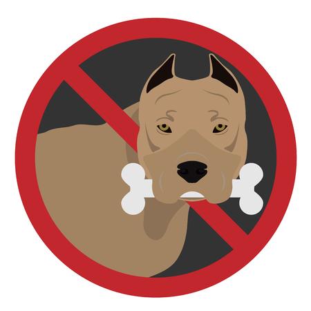 Un chien dans un signe de l & # 39 ; interdiction sur un fond blanc Banque d'images - 99458715