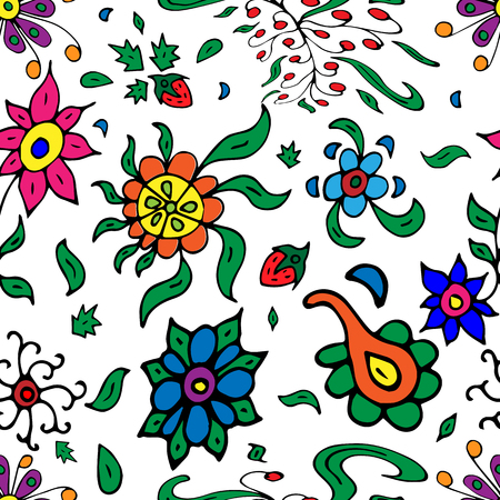 Vector seamless retro pattern, flowers doodle style. Can be used for web page background, pattern fills, wallpaper, surface textures.
