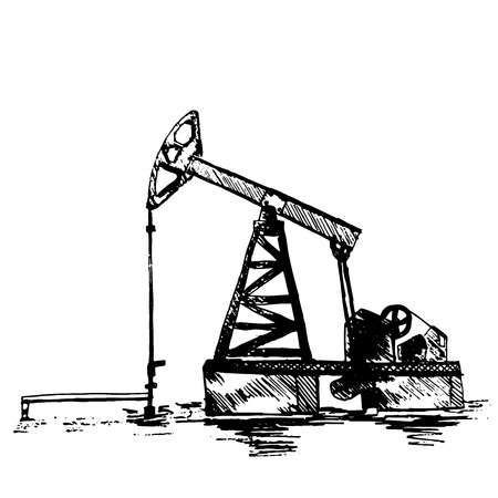 Black oil pump-drawing sketch on a white background.