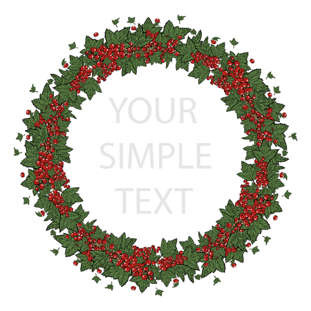 Cover template with a wreath of red currant for brochures, posters, banners, postcards. Ilustrace
