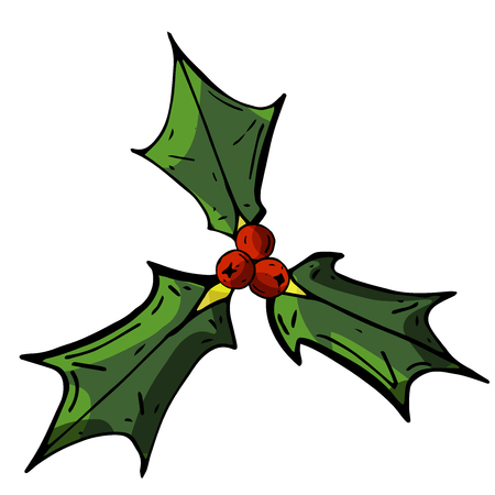 Christmas flower isolated on white background top view. Holly close-up. Stock vector illustration.