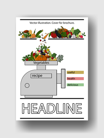 Vector illustration of vegetables. Cover template for brochures, posters, banners, postcards. Illustration