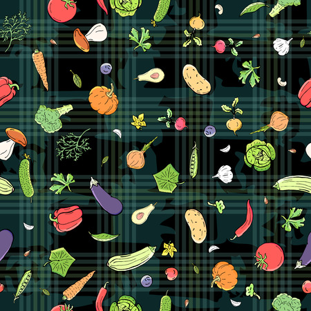 Assorted a lot of vegetables seamless pattern background. Illustration