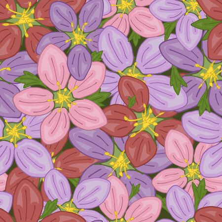 Seamless pattern of scattered flowers on the surface. Vector illustration.