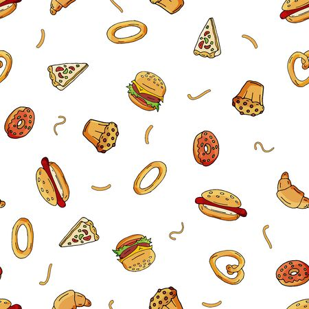 Seamless pattern of scattered hot dogs, pizza, squirrels, quacks, cupcakes on the surface.