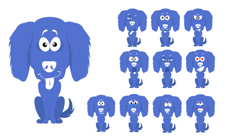 illustration set of cute and funny cartoon little blue dog with facial Expressions
