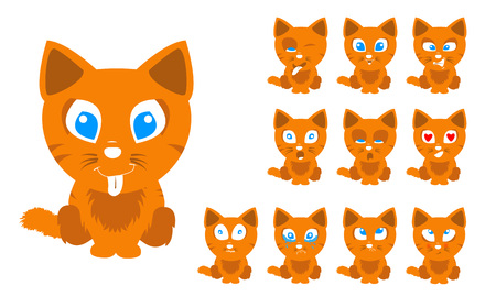 Vector illustration set of cute and funny cartoon little orange cat with facial Expressions