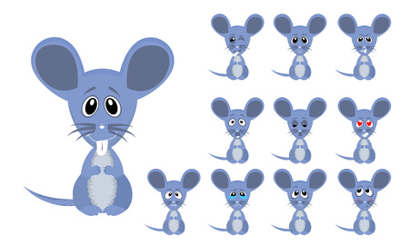 Vector illustration set of cute and funny cartoon little grey mouse with facial Expressions Illustration