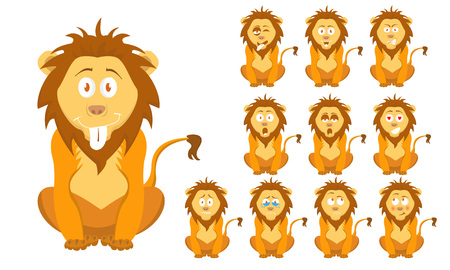 Vector illustration set of cute and funny cartoon little brown wild lion with facial Expressions