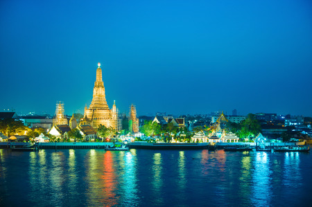 tourist attraction: Phra Prang Wat Arun, one of the famous tourist attraction in Bangkok Stock Photo