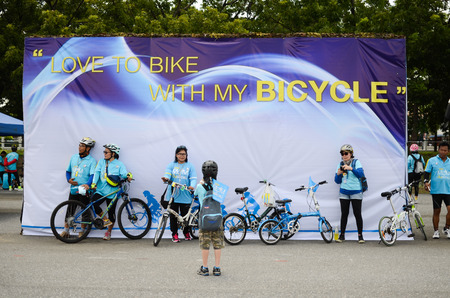 world record: BANGKOK - AUGUST 17, 2015: More than 100,000 cyclists joined the BIKE FOR MOM and break Guinness book world record for the largest bicycle parade Editorial