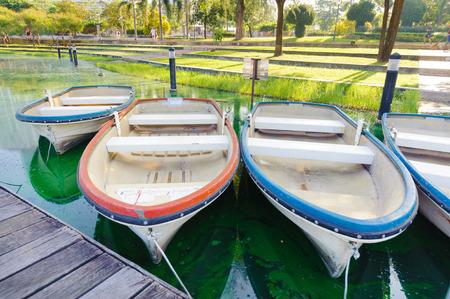 rowboats: Rowboats tied to a pier