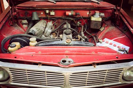 Engine room of abandoned car Stock Photo
