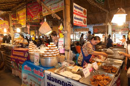 Bangkok, Thailand - Feb 11, 2018: Thai street food vendors at Lad Mayom floating market. Editorial