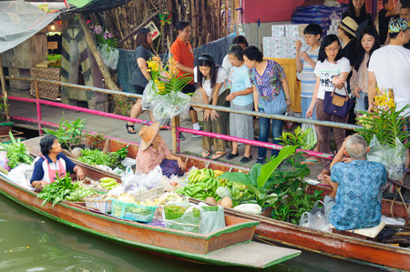 Bangkok, Thailand - Feb 11, 2018: Peoples shopping local agricultural products at Lad Mayom Floating Market.