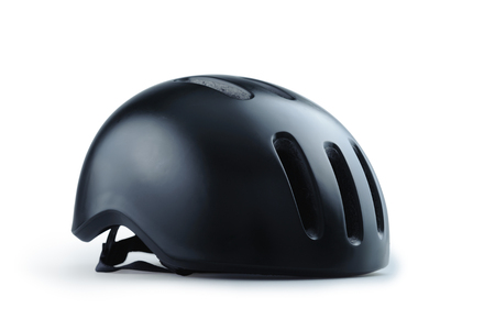 Black bicycle helmet isolated on white background Stock fotó