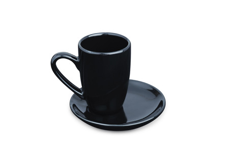 Black Espresso coffee cup isolated on white. Porcelain glass
