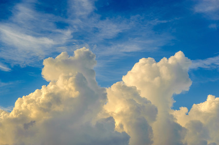 Beautiful white clouds in blue sky. Sunrise sky at summer time