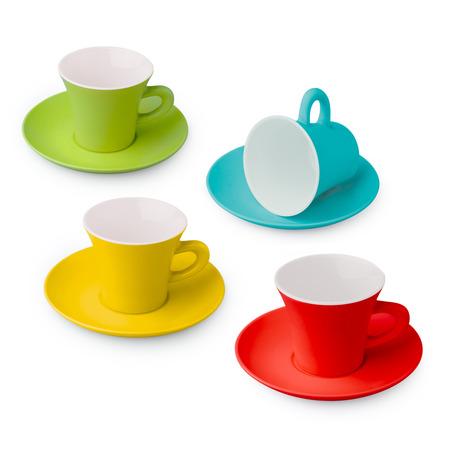 Set of colorful coffee mug isolated on white background. Multi-color coffee mug