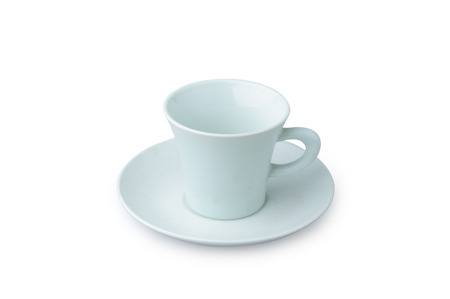 Light Blue coffee cup isolated on white. Porcelain glass 스톡 콘텐츠