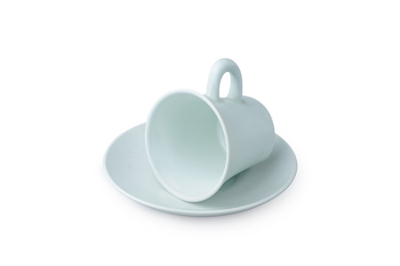 Light Blue coffee cup isolated on white. Porcelain glass Standard-Bild