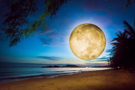 Fantasy full moon over a beach. Surreal full moon rise over seaside Standard-Bild