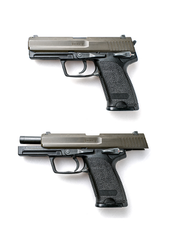 Semi-Automatic Pistols isolated on white background Standard-Bild